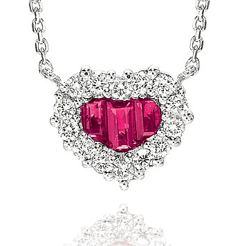 Diamond & Ruby Heart 14k White Gold Necklace
