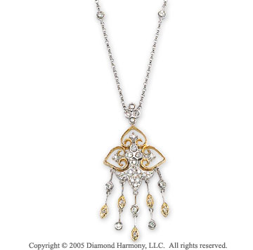 1/3 Carat Diamond 14k Two Tone Gold Chandelier Necklace