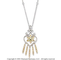1/3 Carat Diamond 14k Two Tone Gold Heart Chandelier Necklace