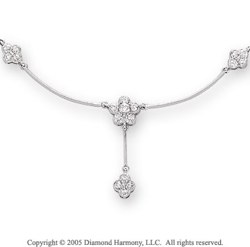1/4 Carat Diamond 14k White Gold Floral Necklace