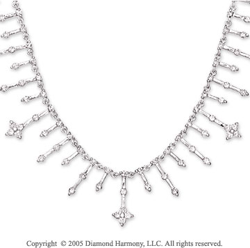 14k White Gold All Around 4.75 Carat Diamond Necklace