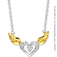 14k Two Tone Gold Diamond Winged Heart Necklace