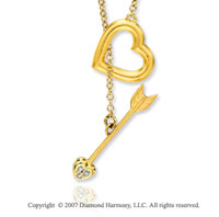 14k Yellow Gold Diamond Hearts N Arrow Necklace