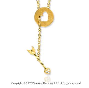 14k Yellow Gold Diamond Circle Heart Arrow Necklace