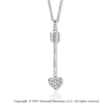 14k White Gold Diamond Round Arrow Necklace