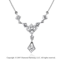 1/6 Carat Diamond 14k White Gold Elegant Round Prong Necklace