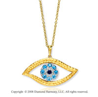 14k Yellow Gold Diamond Sapphire Blue Topaz Eye Pendant