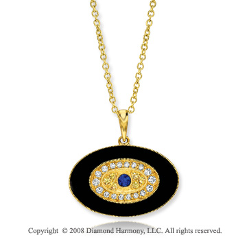 14k Yellow Gold Onyx Sapphire Diamond Eye Pendant