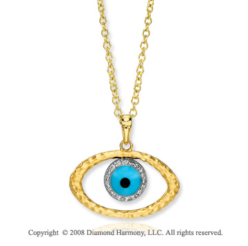 14k Hammered Yellow Gold Diamond Enamel Eye Pendant
