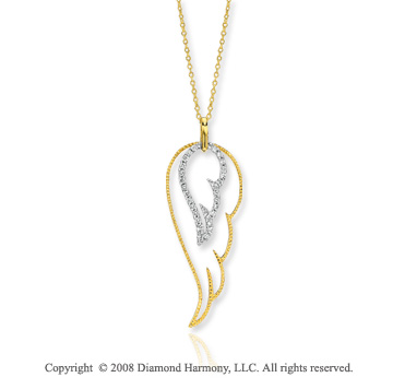 14k Two Tone Gold 1/3 Carat Diamond Angel Wing Fashion Necklace