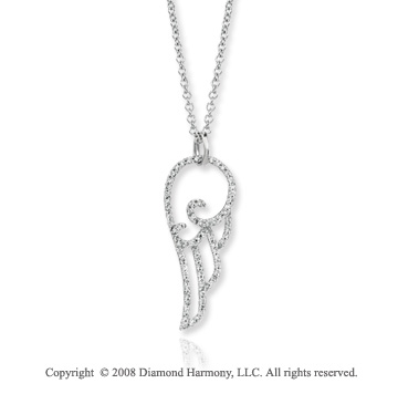 14k White Gold 0.40 Carat Diamond Angel Wing Fashion Necklace