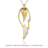 14k Yellow Gold Diamond Angel Wing Fashion Necklace