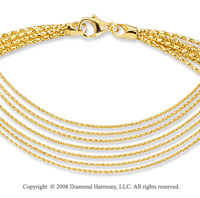 14k Yellow Gold Fancy 7 Strand Necklace