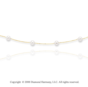 14k Yellow Gold Elegant Stylish Pearl Necklace