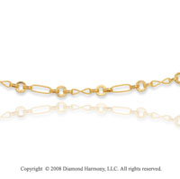 14k Yellow Gold Milgrain Rope Oval Figaro Necklace
