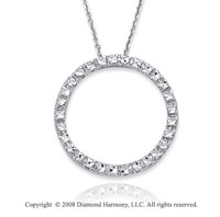 14k White Gold Stylish Circle Necklace