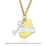 14k Two Tone Heart & Key Pendant Necklace