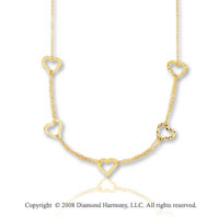 14k Yellow Gold 18 Inch Hammered Heart Necklace