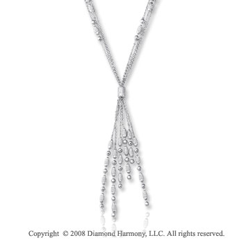 14k White Gold Triple Strand Beaded Tassel^Y^ Necklace