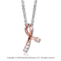 14k Two Tone Gold Diamond Breast Cancer Awareness Necklace