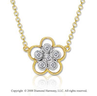 14k Two Tone Gold 16 Inch Diamond Flower Necklace