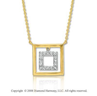 14k Two Tone Gold 16 Inch Geometric Diamond Necklace