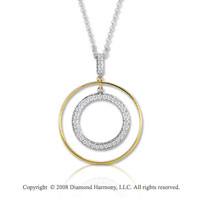 14k Two Tone Gold 16 Inch Double Circle Diamond Necklace
