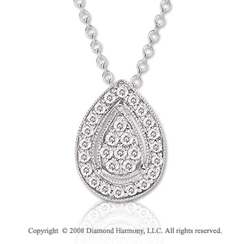 14k White Gold 1/5 Carat Diamond 16 Inch Tear Drop Necklace