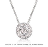 14k White Gold 1/10 Carat Diamond 16 Inch Stylish Round Necklace