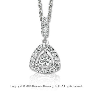 14k White Gold 16 Inch 1/4 Carat Diamond Triangle Shape Necklace