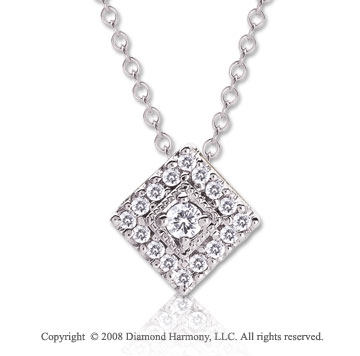 1/10 Carat Diamond 14k White Gold 16 Inch Diamond Shape Necklace