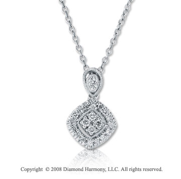 14k White Gold 1/8 Carat Diamond Drop Necklace