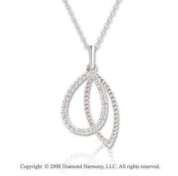 14k White Gold 1/10 Carat Diamond and Rope Drop Necklace