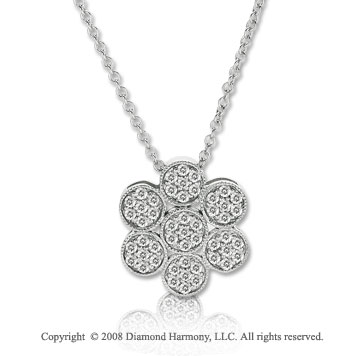14k White Gold 1/3 Carat Diamond Flower Necklace