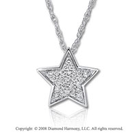 14k White Gold 1/10 Carat Diamond Star Necklace