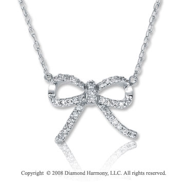 14k White Gold 1/8 Carat Diamond Bow Necklace