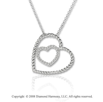 14k White Gold 1/5 Carat Diamond Double Heart Necklace