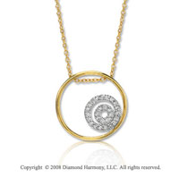 14k Yellow Gold 1/8 Carat Diamond Circle Neclace