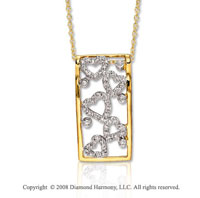 14k Yellow Gold 1/5 Carat Diamond Geometric Heart Necklace