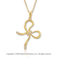 14k Yellow Gold Diamond Bow Necklace