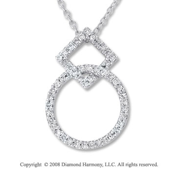 14k White Gold 1/8 Carat Diamond Multi Shape Drop Necklace