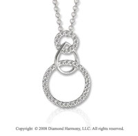 14k White Gold 1/5 Carat Diamond Multi Shape Drop Necklace