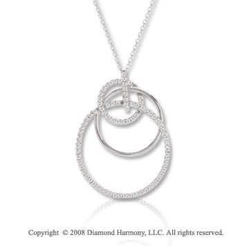 14k White Gold 1/3 Carat Diamond Multi Circle Necklace