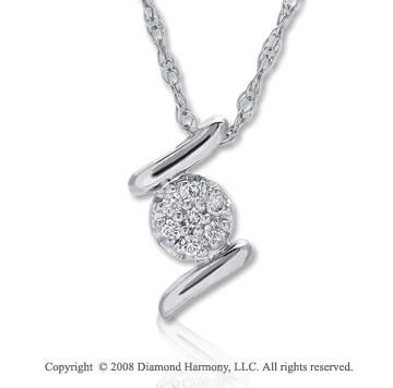 14k White Gold Diamond Filled Circle Necklace