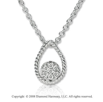 14k White Gold Diamond Filled Circle and Tear Drop Necklace