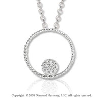 14k White Gold Rope and Diamond Filled Circle Necklace