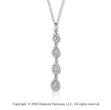 14k White Gold 1/3 Carat Diamond Tear Drop Journey Necklace