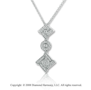 14k White Gold 1/5 Carat Diamond Multi Shape Necklace