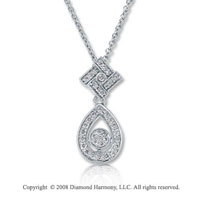14k White Gold 1/8 Carat Diamond Tear Drop Necklace