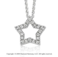 14k White Gold 1/8 Carat Diamond Star Pendant